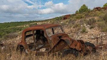 Rusty, cars, graveyard, France