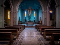 blue, church, chapel, christ, italy, włochy, abanoned